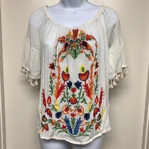 Umgee Embroidered Floral Peasant Blouse